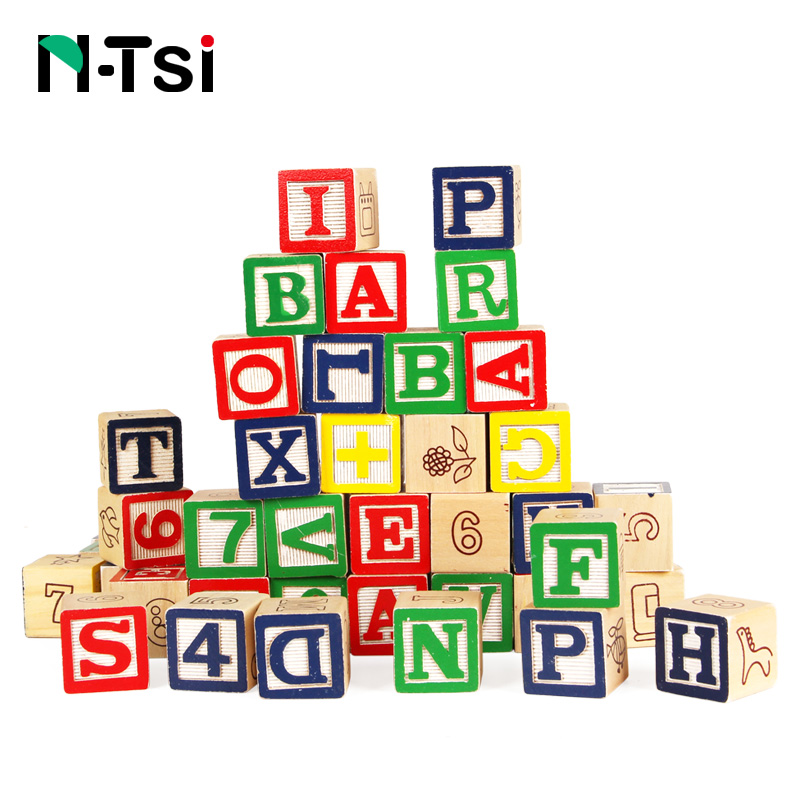 N-Tsi 50 Pcs Deluxe Wooden ABC 123 Blocks Set Learning Educational Toys For Children With Storage Kids Christmas Gift Pouch