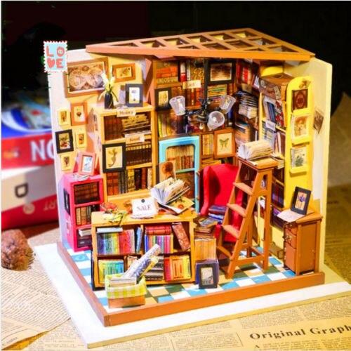JIMITU bricolage main faire maison de poupée la librairie maison de poupée Miniature cache-poussière 3D LED Kit de meubles boîte lumineuse cadeau pour les enfants