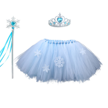 Elegant Snow Queen Snowflake Princess Costume Froze Elsa Skirt with Pattern Christmas Tutu Mini Crown Wands