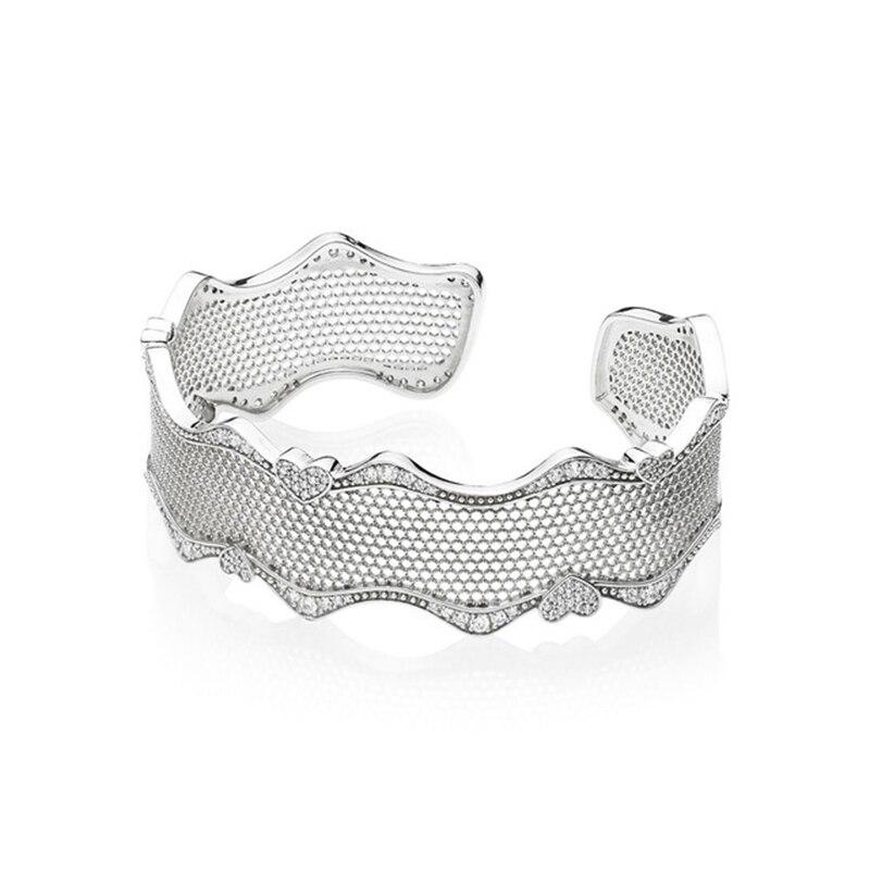 2018 nouveau 100% 925 argent Sterling dentelle de coeur Bracelet manchette avec CZ clair convient à la marque européenne femmes perles breloque bijoux