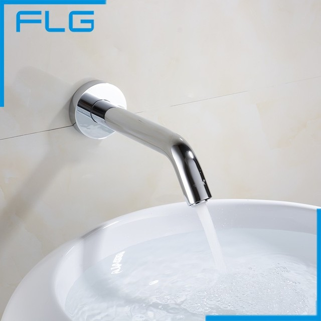 Automatic Touch Sensor Single Cold Wall Mounted Bathroom Faucet Water  Saving Brass Chrome Basin Tap Mixer