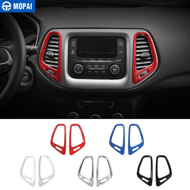 MOPAI ABS Car Interior Dashboard GPS Air Condition Vent Decoration Cover Trim Stickers for Jeep Compass 2017 Up Car Styling executive car