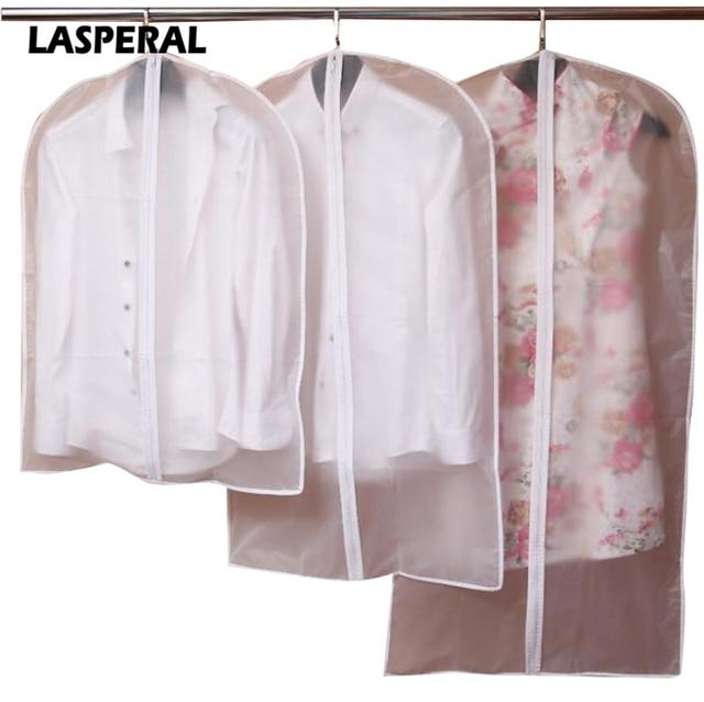 LASPERAL Wardrobe Storage Bags Transparent Dress Clothes Coat Garment Suit Cover Case Dustproof Covers Home Zipper Protector
