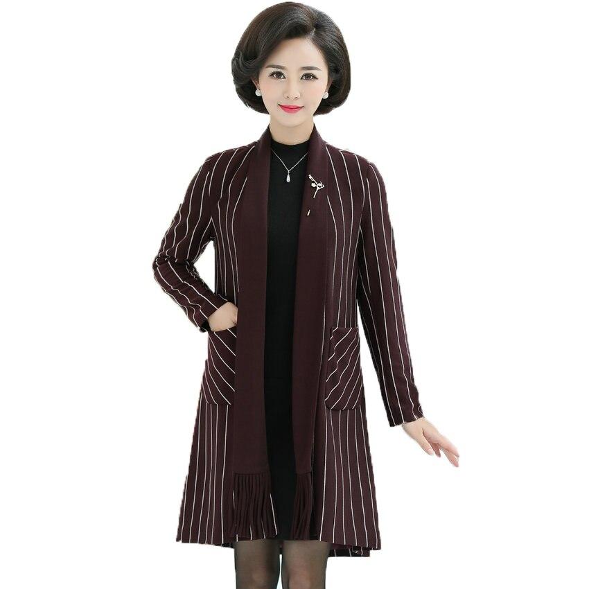 Woman Business Casual Blazers Black Red Stripes Jacket Suit Mature Women Elegant Long Blazer Lady Smart Outfits Jackets Suits XL