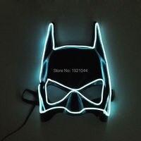 El Провода флэш-маска Бэтмена Новогодние товары белый маска с DC-3V устойчивый на драйвер неоновый свет партия маска для фестиваля поставки