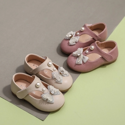 Pearl Baby Leather Shoes 2019 Spring And Autumn New Soft Bottom Toddler Girls Shoes Rhinestone Princess Shoes Children