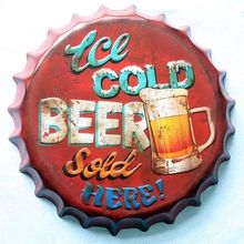 35cm Round Ice Cold Beer Sold Here Bottle Cap vintage Tin Sign Bar pub home Wall Decor Metal art Poster