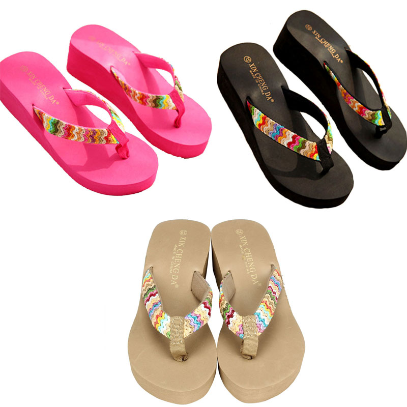 2018 New Style Summer shoes woman Platform Sandals Beach Flat Wedge Patch Flip Flops Lady Slippers sandale femme sandalias 2016 summer bowknot shoes woman sandals sapato feminino hawaii beach flat wedge flip flops lady slipper sandalias mujer freeship