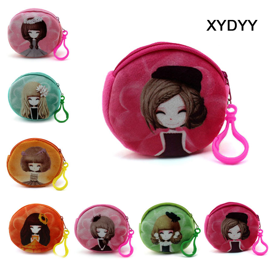 XYDYY NEW Printed Beautiful Girl Zipper Coin purse wallet bag coin pouch children's purse women coin wallet xydyy new cute beautiful girl canvas coin purses zipper zero wallet child change purse mini phone headset fashion lady coin bag