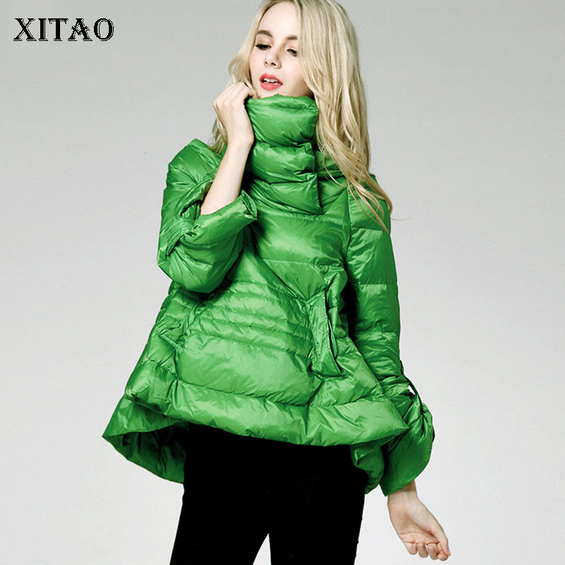 [XITAO] Europe Fashion New Women 2018 Autumn Covered Button Full Sleeve A-line   Down     Coats   Female Thin Pocket   Down     Coat   LJT4073