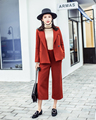 2016 Real Winter Clothing New Wool Strap Wide Leg Pants Two Suit orange red elegant winter design female warm Women suit