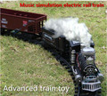 2014 Deluxe edition electric train track toys, classic vintage trains, Music rail cars, retail, wholesale, free shipping