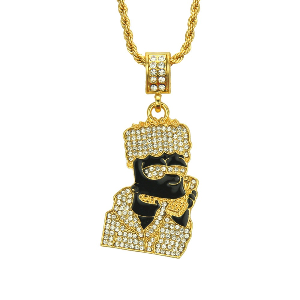 Full Iced Out Quavo Choker Rhinestone Wrapped Alloy Cartoon Figure Pendent Hip Hop Necklace Fashion Jewelry Gift for Christmas rhinestone alloy star necklace