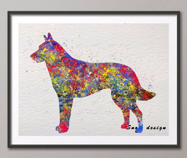 Wonderful Original Belgian Malinois Watercolor Canvas Painting Dog Wall Art Poster  Print Pictures Living Room Home Decor