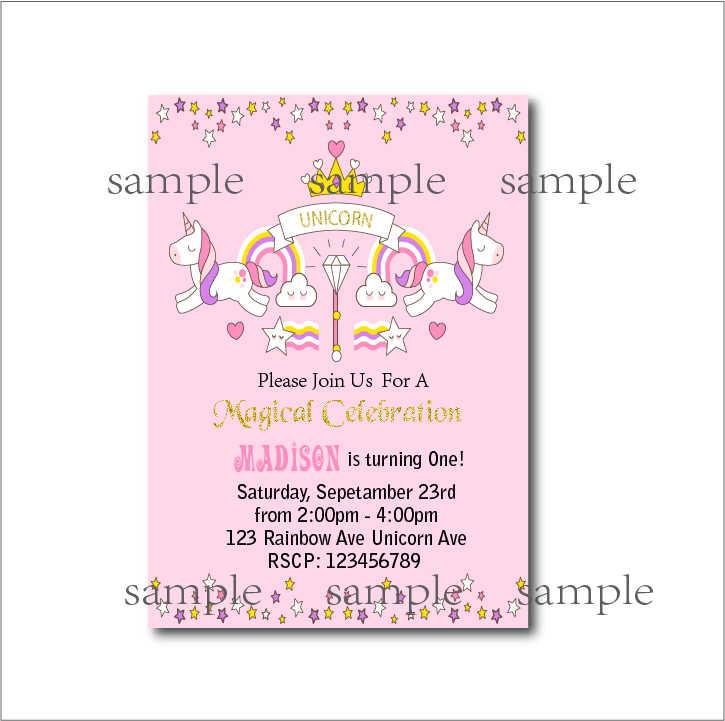 14 Pcs Lot Unicorn Birthday Party Invitations Baby Shower Invites Rainbow Magical Girls Decoration Supply Free Shipping