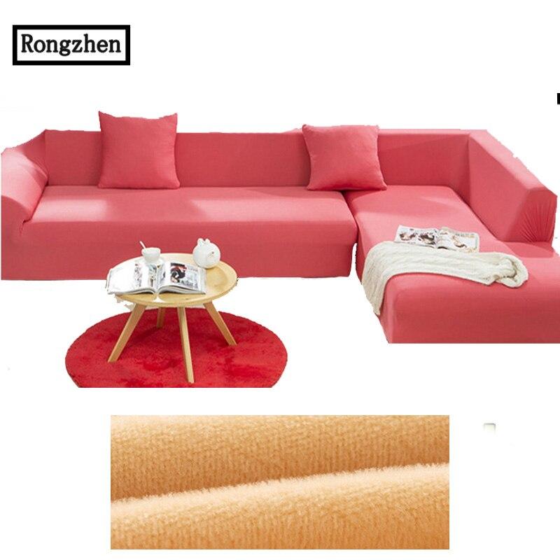 55 74 Tissu élastique Canapé Couvercle Housse Extensible Rouge Coin 1 2 3 4 Places Causeuse Canapé Meubles Couverture En Forme De L Canapé D Angle