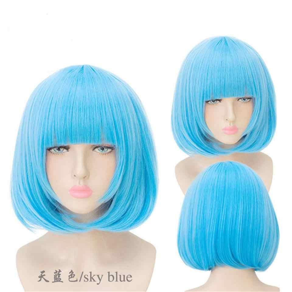 """Pageup 14 """"короткий прямой парик Боб высокотемпературные синтетические волосы розовый коричневый серый фиолетовый для женщин Красочные Косплей парики"""