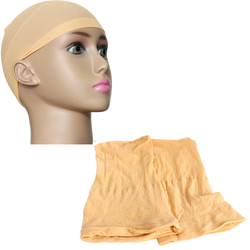 Beis 2 piezas Unisex de nailon de malla de estiramiento de la peluca del forro de la tapa suave de la Snood HB88