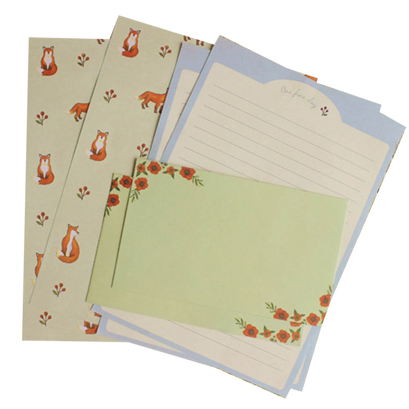 Lovely Flowers Animals Letter-4pcs Writing Stationery Paper+2pcs Gifts