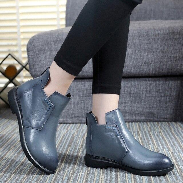 2018 kadın kar çizmeler hakiki deri kadın çizmeler gelgit kış pamuk ayakkabı B89