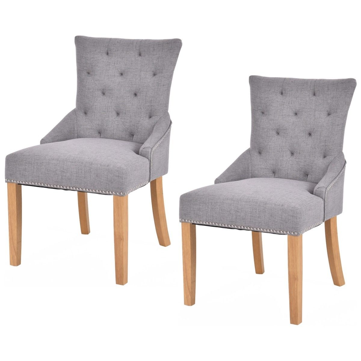 Giantex Set Of 2 Armless Dining Chairs Elegant Tufted Design Fabric Upholstered Sofa Chairs Modern Home Furniture HW53785 все цены