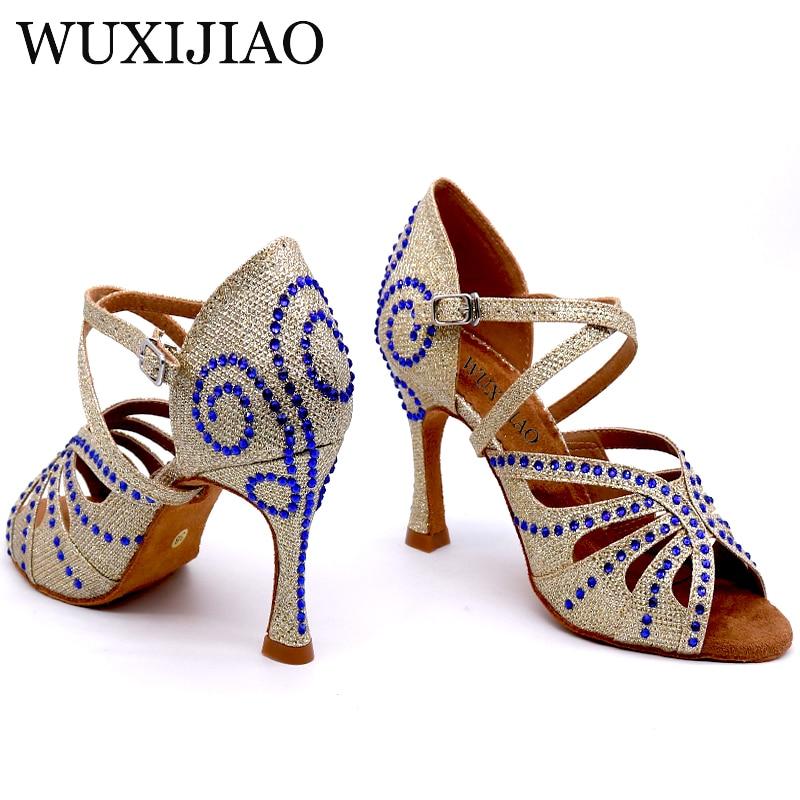 WUXIJIAO Women s latin Dance Shoes Satin rhinestone Party dance shoes Salsa Dance Shoes heel 9cm