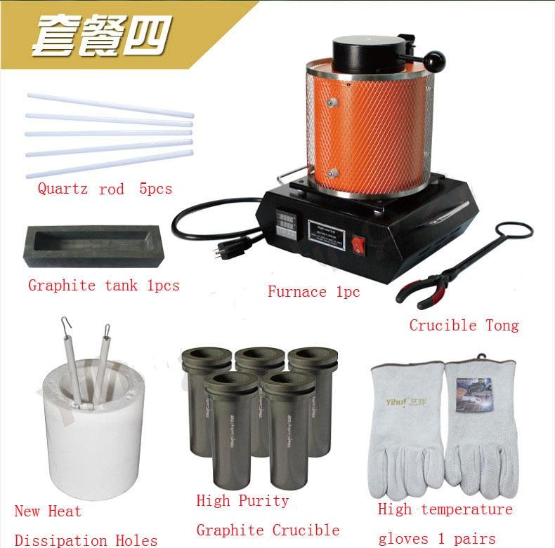 1kg Capacity 110v/220v Portable Melting Furnace, Electric Smelting Equipment, For Gold Copper Silver