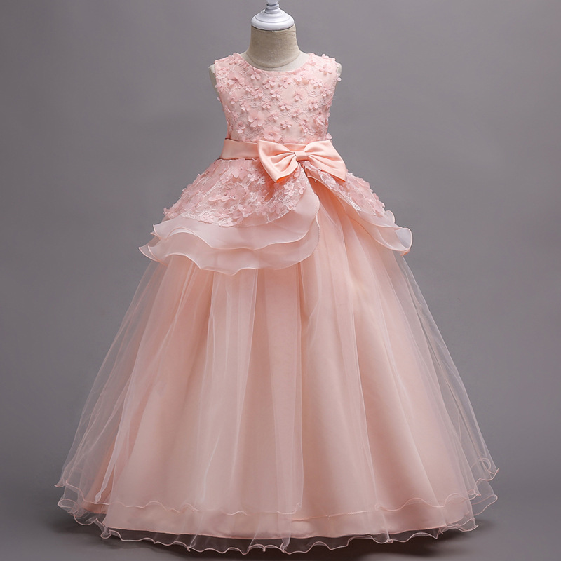 Girl 'S Party Dress sleeveless Lace Ruffles Princess Dress Korean Version of the Foreign Trade Princess Mesh Tutu Petals Dress W(China)