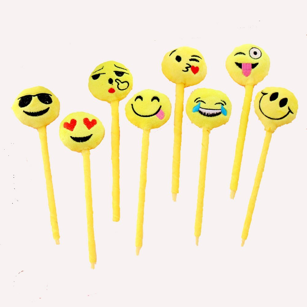8pcs Plush Expression Ball Point Pen Emoji Pen Kids Gift Toys Student Award School Office Party Favors Supplies
