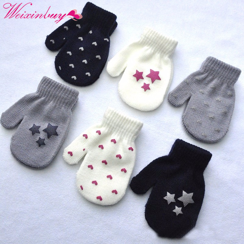 Winter Gloves Boys Girls Children Warm Knitted Golves Kids Full Finger Gloves Cute Stars Heart Print Solid