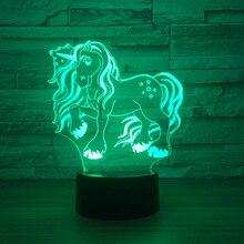 3D светодиодный единорог модель игрушки интерьера модель с акриловые visual светодиодный игрушка Украшения