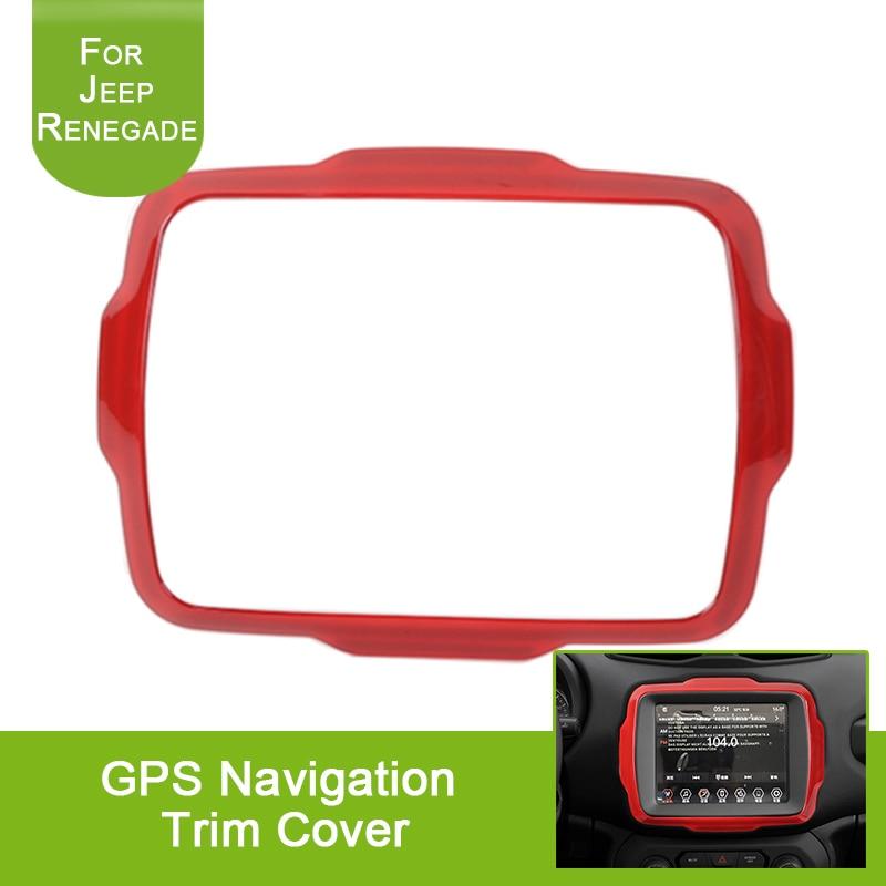 For Renegade 15-16 Dashboard GPS Navigation Screen Trim Cover Carbon Fiber Style