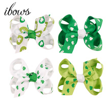 цена на 4PCS Girl Grosgrain Ribbon Boutique Hairpins Hair bows With Alligator Clips Pinwheel Bow For Children kids hairbow Accessorie