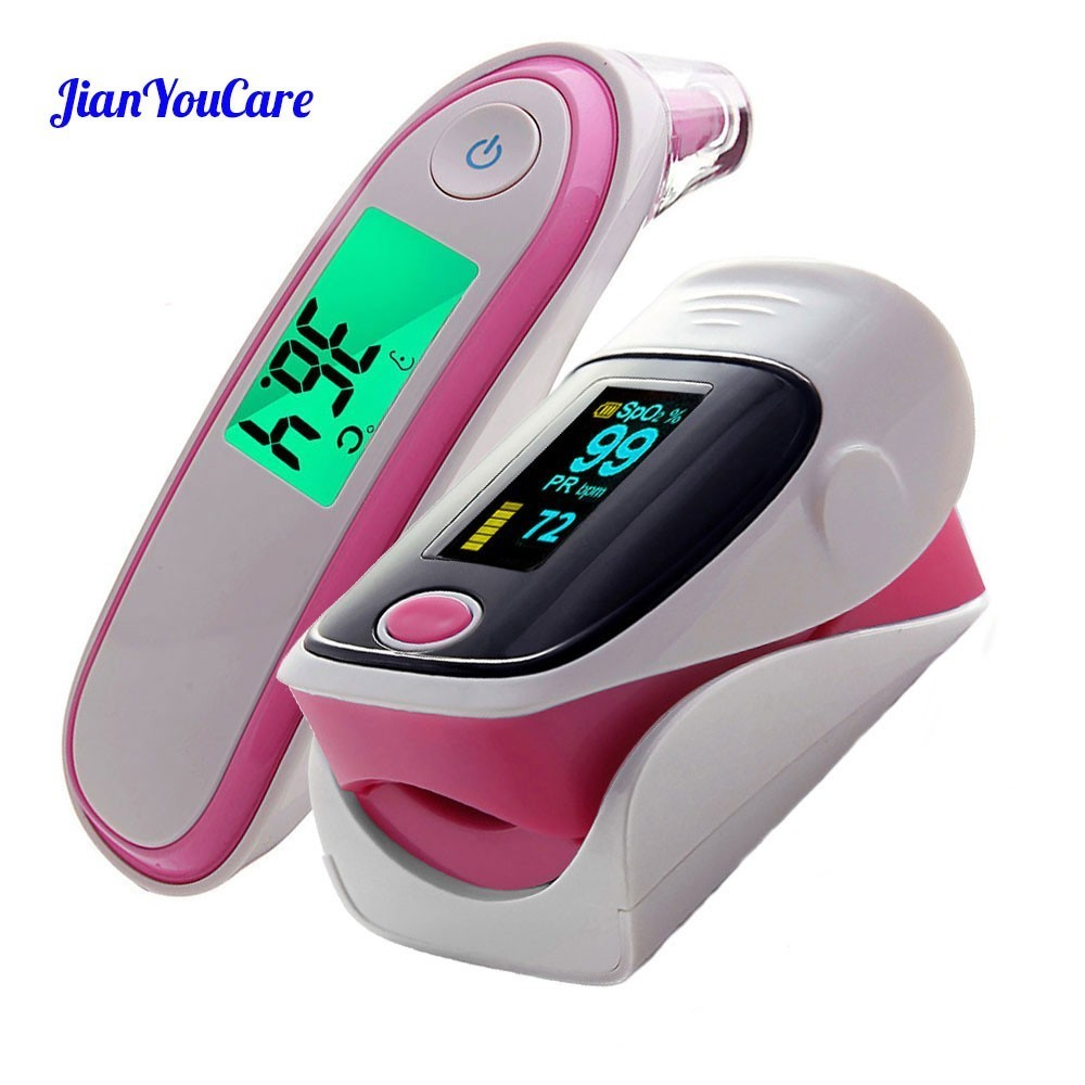 Medical Fingertip Pulse Oximeter Ear forhead Infrared Thermometer Digital portable Family Health Care Spo2 PR oximetro de pulso image