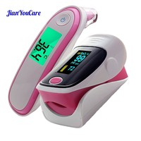 Medical Fingertip Pulse Oximeter Ear forhead Infrared Thermometer Digital portable Family Health Care Spo2 PR oximetro de pulso