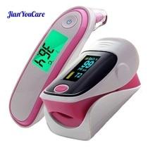 Medical Fingertip Pulse Oximeter Ear forhead Infrared Thermometer Digital portable Family Health Care Spo2 PR oximetro de pulso цена