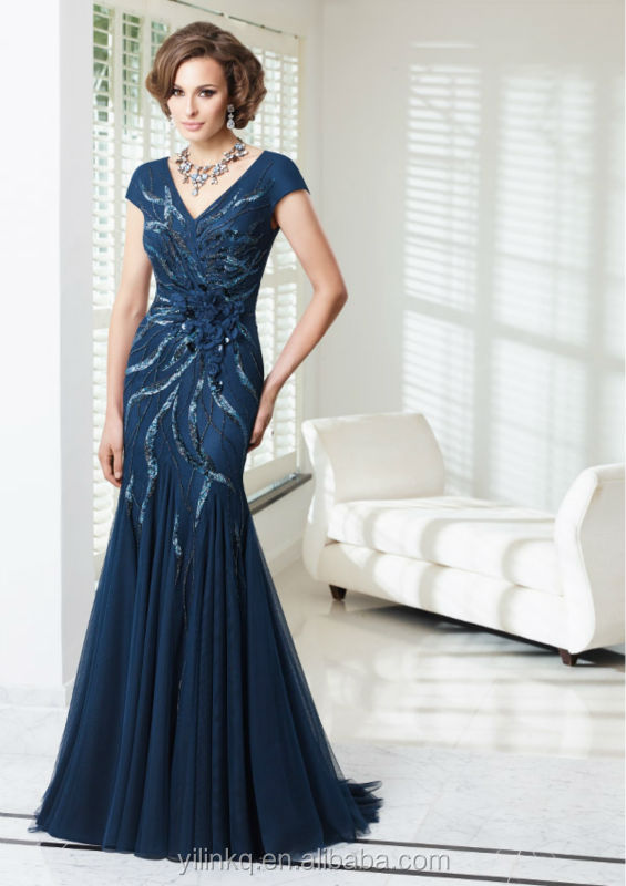 For Wedding Long Evening Gowns Royal Blue Beaded Short Sleeve Ebay Fat Women  Bohemian Style Elegant Groom Mother Of Bride Dress-in Mother of the Bride  ... a20fa006422c