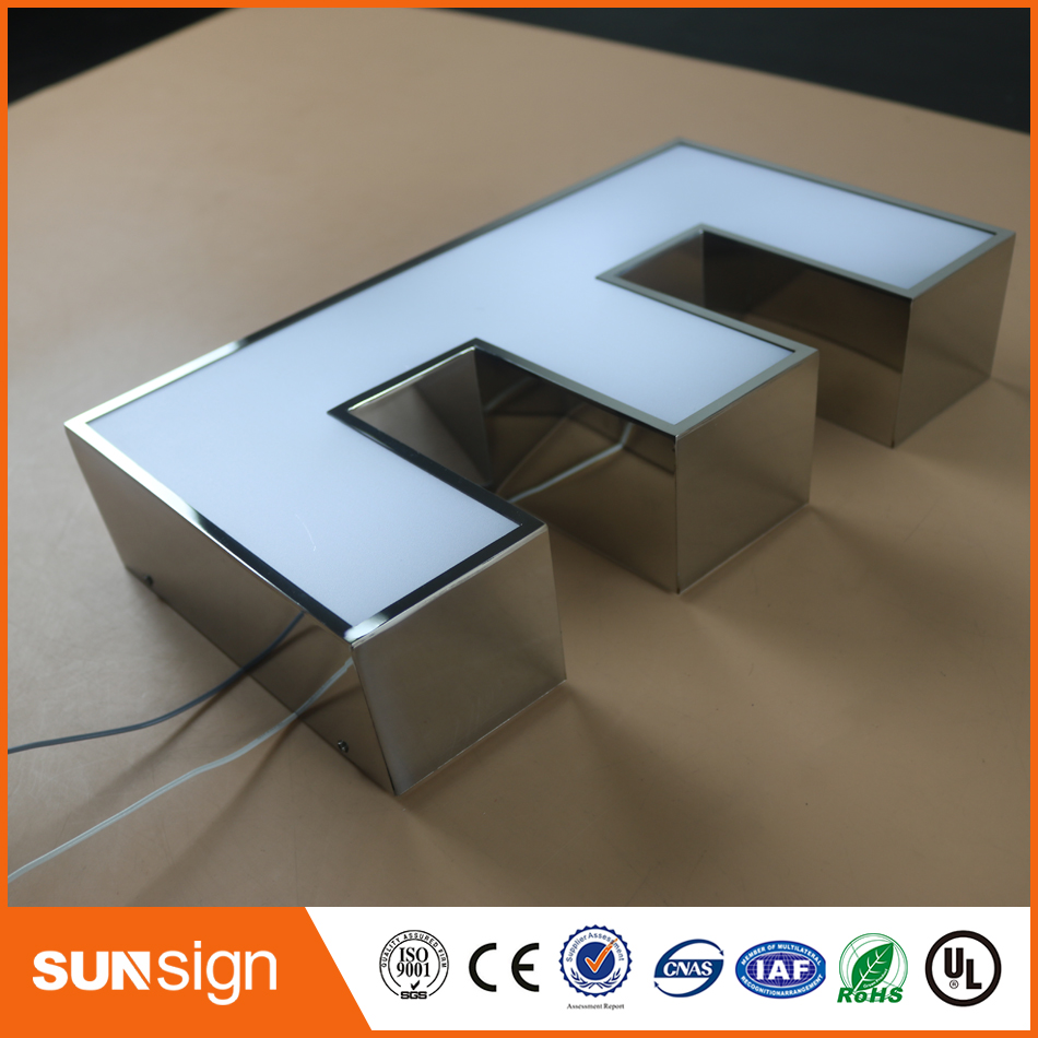 Advertising Stainless Steel Frontlit LED Letters Light Sign With Acrylic
