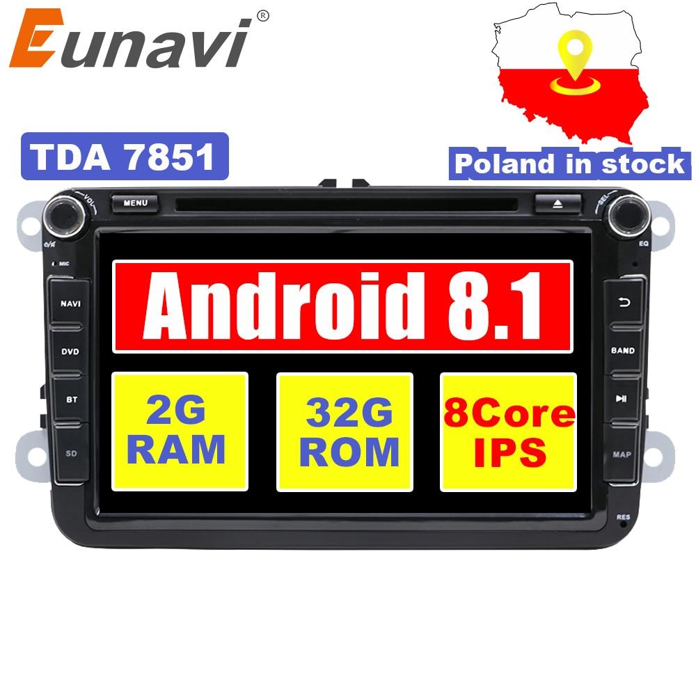 Eunavi 2 Din 8 ''Android 7.1 8.1 dvd de voiture radio player gps navi pour Polo Jetta Tiguan VW passat b6 cc fabia lien miroir au tableau de bord