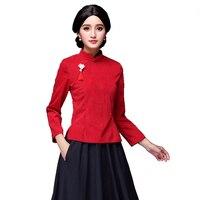 2018 Vintage Slim Corduroy Cheongsam China Everyday Chinese Tang Art Blouse Shirt Red Green Light Purple 6029