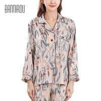 2019 Spring Woman Pyjamas Sets Satin Silk Chiffon Print Leaves Thin Full Pink Button Female Pajamas Suit Autumn Home Wear M L XL