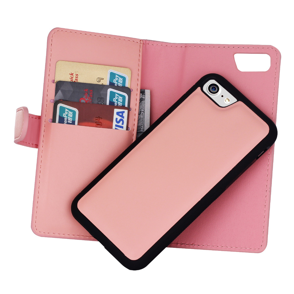 2 In 1 Leather Flip For Iphone 7 6 6S Plus Cover Multifunction Wallet Samsung Galaxy S8 S7 S6 Edge Plus S5 Phone Bags