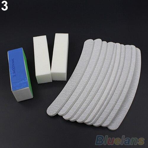 13PCS Nail Art Sanding Files Buffer Block Manicure Pedicure Tools UV Gel Set 1U8E 4BHN
