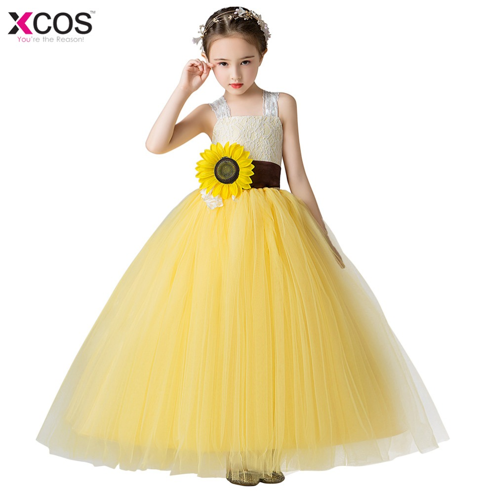 Xcos Spaghetti Straps   Flower     Girl     Dresses   Ankle-length Princess Ball Grown Sweet Embroidery Sleeveless   Girls     Dress   2019