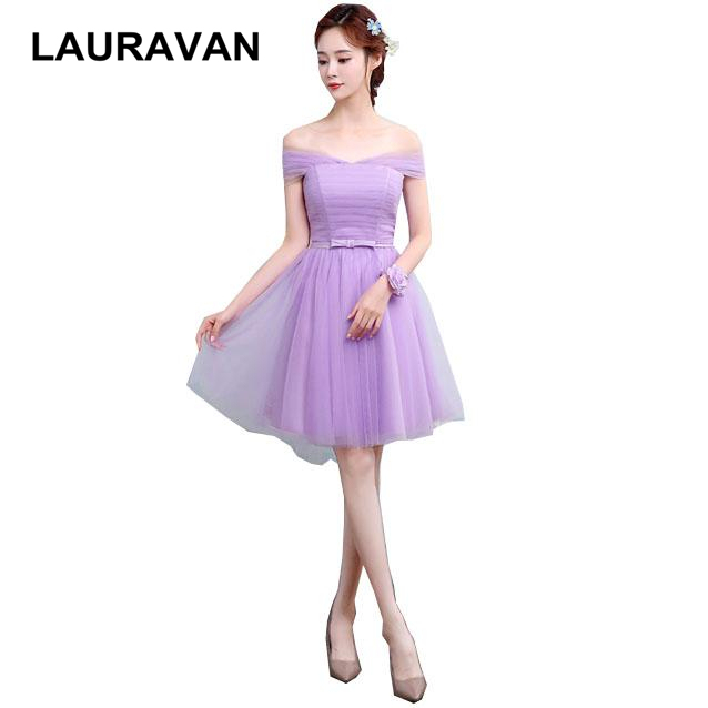 2018 pretty light purple short bridesmaid convertible wrap fairytale dress  girl flower brides maid dresses ball gowns wedding e7d130c396b8