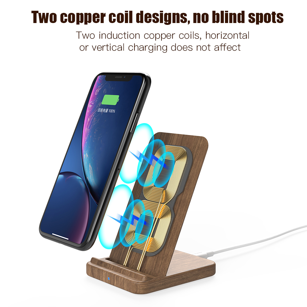 KEYSION 10W Qi Fast Wireless Charger for Samsung S10 S9 Xiaomi mi 9 Wooden wireless Charging Stand For iPhone XR XS Max X 8 Plus in Mobile Phone Chargers from Cellphones Telecommunications