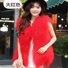 2016 New Beach wool vest the full pelt women long section of fur lambs wool vest jacket mongolia sheep fur vest