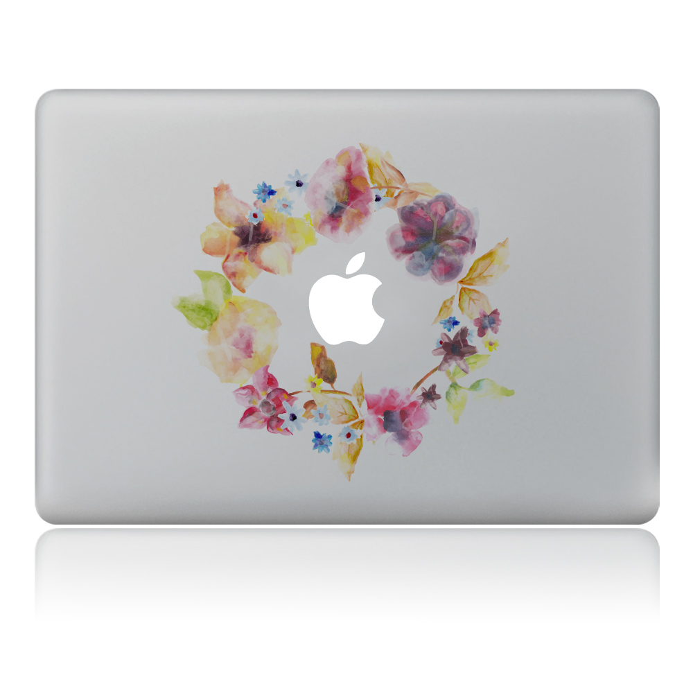 Abstract watercolor wreath Vulture style Vinyl Decal Laptop Sticker For DIY Macbook Pro Air 11 13 15 inch Laptop Skin
