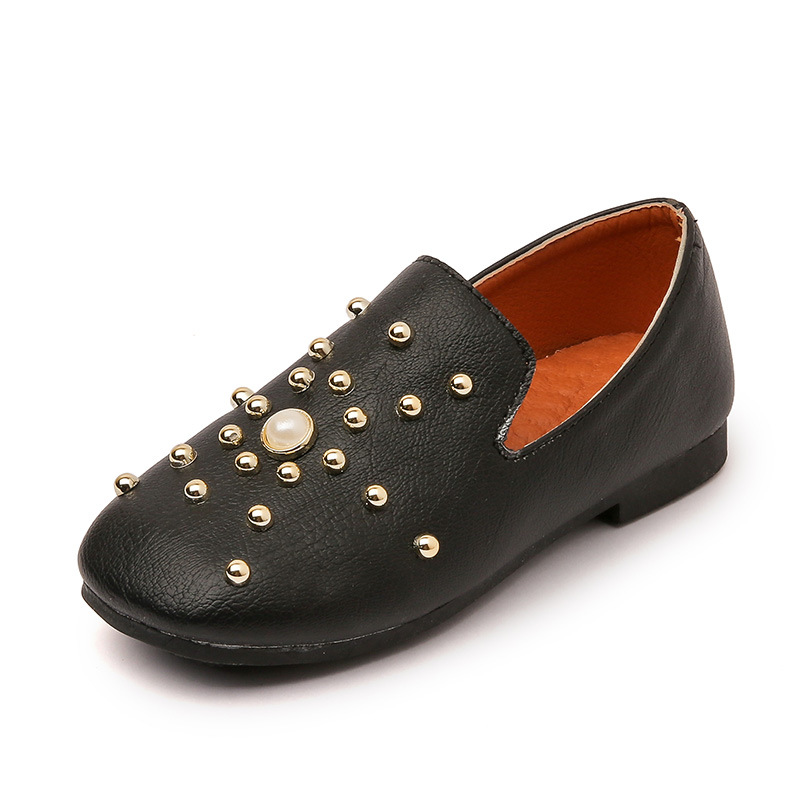 Children Shoes Girls Shoes 2017 Autumn New Fashion Pearl Rhinestone Baby Toddler Pu Leather Princess Flat Soft Casual Kids Shoes