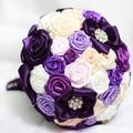 Rosas púrpuras de La Cinta perla ramo personalizar cualquier color DIY de la boda ramos de Novia ramo de novia de dama de honor Envío gratis